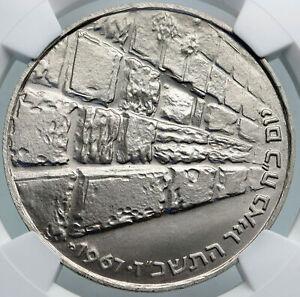 1967 ISRAEL IDF 6 Day War Wailing Wall Jerusalem PF Silver 10 L NGC Coin i87882