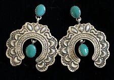 Navajo Sterling Silver Turquoise Naja Earrings -