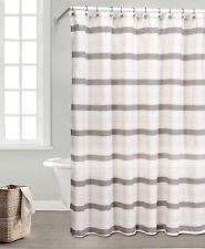 Taupe, Ivory and Beige Fabric Shower Curtain: Natural Linen Blend
