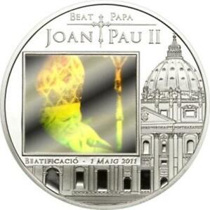 Beautification of John Paul II 2011 Andorra Silver with Hologram