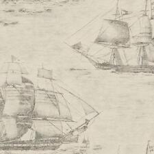 Wallpaper Designer Slate Gray Sailing Ships Over Taupe Black Old World Map