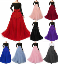 Women Long Maxi Tulle Skirt A-line Fluffy Tutu Bowknot Belt Prom Party Skirts