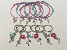 Flamingo party bag fillers, Friendship Bracelets Keyrings Bag charms 12 Pieces
