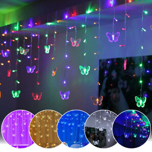Butterfly LED Curtain Fairy Lights Bedroom In/ Outdoor Connectable Mains Plug In