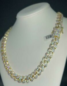 Best Miami Cuban Link Chain 14k Gold Iced Out Diamond 14MM Solid Necklace 22inch