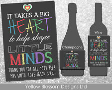 Personalised Teacher Wine Champagne Label Shape Small Minds Thank You Leaving