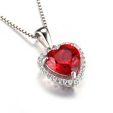 JewelryPalace Wedding Red Ruby Pendant Nacklace Chain 925 Sterling Silver