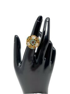 CHUNKY STATEMENT VINTAGE FLORENZA SIGNED COCKTAIL RING
