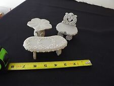 3 PC SET PRISCILLA HILLMAN MINIATURE FURNITURE RESIN CHAIR TABLE & BENCH GRAY EN
