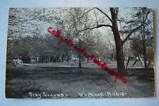 Play Ground WHITEHALL Michigan vintage RPPC postcard, City Park, cannon