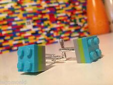 Pair Handmade MonkiStuff Cufflinks, Light Blue, Lime & Grey made using LEGO®