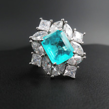 Vintage 925 Sterling Silver Paraiba Tourmaline Gemstone Wedding For Engagement