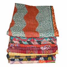 Vintage Kantha Quilt Single Size Reversible Floral Handmade Cotton Bedspread