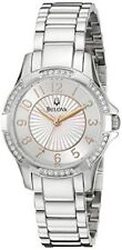 Bulova Women's 96L161 Dress Swarovski Crystal Mother of Pearl Silver-Tone Watch