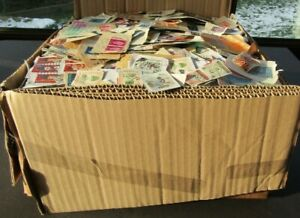 VAST BOX OF STAMPS ON PAPER/CLIPPINGS - ALL PERIODS AND COUNTRIES
