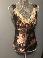 GUC Womens Satin-Like Tank Top Lace Trim SIZE SMALL Rose Floral Pattern Cami