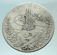 1891 1293AH EGYPT with Sultan Abdul Hamid II Genuine Silver 10 Qirsh Coin i75959