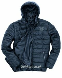 Personalised Embroidered Logo Padded Puffer Jacket With Hood UK Stock Free P&P