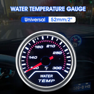 Car Universal 52mm/2'' Water Temperature Gauge Meter Smoked Tint Fahrenheit