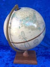 "Vintage Cram's Imperial World Globe With Wood Base George F. Cram 9"" Dia USA"