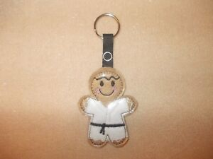 Karate Gingerbread Felt Keyring/Bag Charm.  Embroidered Appliqué - Handmade