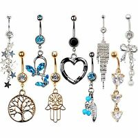 Beauty Crystal Dangle Navel Belly Button Ring Bar Body Piercing Jewelry