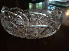"""ANTIQUE CUT GLASS OVAL BOWL~10""""X6""""& 7lbs~Beautiful condition~American Brilliant?"""