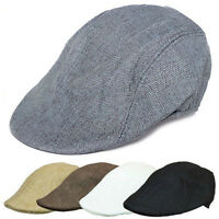 Mens Linen Blend Beret Caps Vintage Baker Boy Newsboy Ivy Gatsby Hat Driving