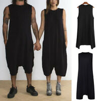 Mens Womens One Piece Rompers Sleeveless Loose Overalls Pants Playsuits Jumpsuit