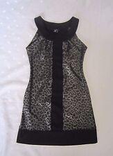 XOXO Animal Print Sleeveless Round Neck Black Metallic Silver Mini Dress ~Size S