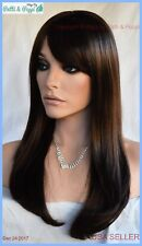 Skin Top Long Length Wig Straight  with Bangs Color #8 Brown USA Seller