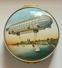Airship:Zeppelin Luftschiff LZ3 Inaugural Flight:Halcyon Days Enamel Box:V Good