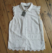 *BNWT* OASIS ivory cotton broderie anglaise hem blouse UK 12 button through