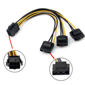 PCIe 6pin Female to 3 Molex IDE 4pin Graphic Card Power Supply Splitter Cable