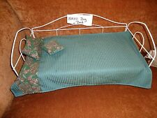 Little metal doggie bed for very small dogs with pad & coverlet-pillows