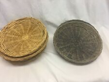 11 Vintage 10� Wicker, Rattan, Bamboo Reusable Paper Plate Holder 3 blue/8 tan