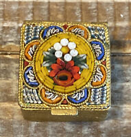 Vintage Micro Mosaic Floral Pill Ring Box Gold Tone Trinket Box Made in Italy