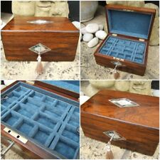 ANTIQUE JEWELLERY BOX - 19c FIGURED ROSEWOOD INLAID - WONDERFUL INTERIOR