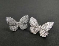 Shiny Silver Rhodium Plated CZ Cubic Zirconia Pave Butterfly Post Stud Earrings