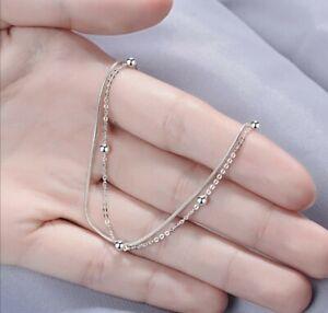 925 Sterling Silver Simple Double Chain Women Bracelet