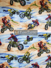 "Fleece Printed Fabric MOTOCROSS BLUE BROWN 58"" Wide Sold by the yard"