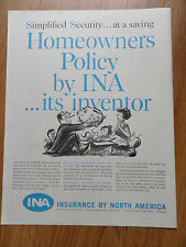 1959 INA Insurance Company of North America Ad Homeowners Policy Its Inventor