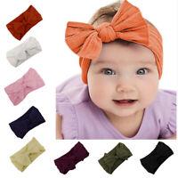 BG_ Toddler Girls Baby Turban Solid Headband Hair Band Bow Accessories Headwear
