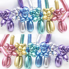 Us! 100Pcs Metallic Mixed Color Long Balloons Wedding Birthday Party Supplies
