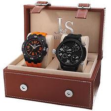 New Men's Joshua & Sons JS-46-01 Quartz Multifunction Silicone Strap Watch Set