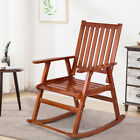 Wood Rocking Chair Single Porch Rocker Indoor Outdoor Patio Furniture Natural