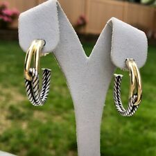 David Yurman Labyrinth Silver & Gold Hoop Earrings in 18k Yellow Gold and Silver