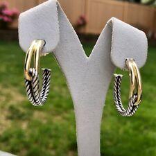 David Yurman Labyrinth Silver & Gold Hoop Earrings