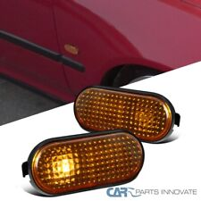 Fit 92-95 Honda Civic JDM Flat Fender Smoke Amber Side Markers Signal Lights