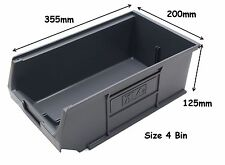 NEW Economy Grey Plastic Parts Stacking Storage Bins Box 10 x Size 4 - Free P&P